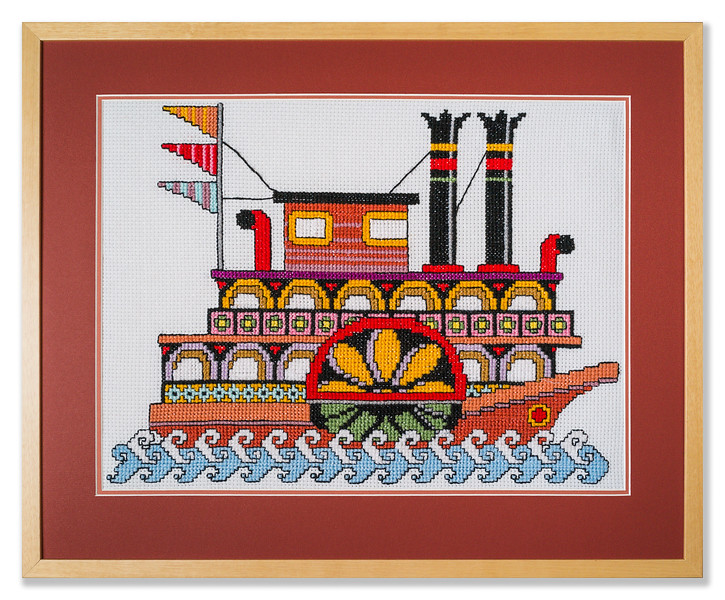 Bespoke needlework design by Stuart Beattie, Mississippi Steamboat.