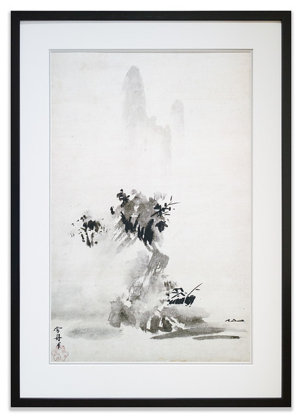 A print of the Broken Ink Landscape scroll made by the Japanese artist Sesshū Tōyō.