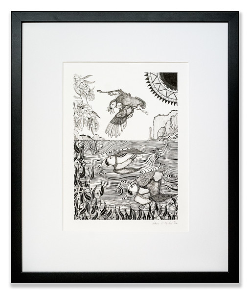 Puffins Diving Original pen & ink artwork by Cathy MacLeod, The Sea