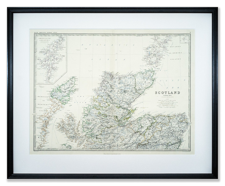 Map, Scotland Northern Sheet by Alexander Keith Johnston published by William Black Wood & Sons 1873.