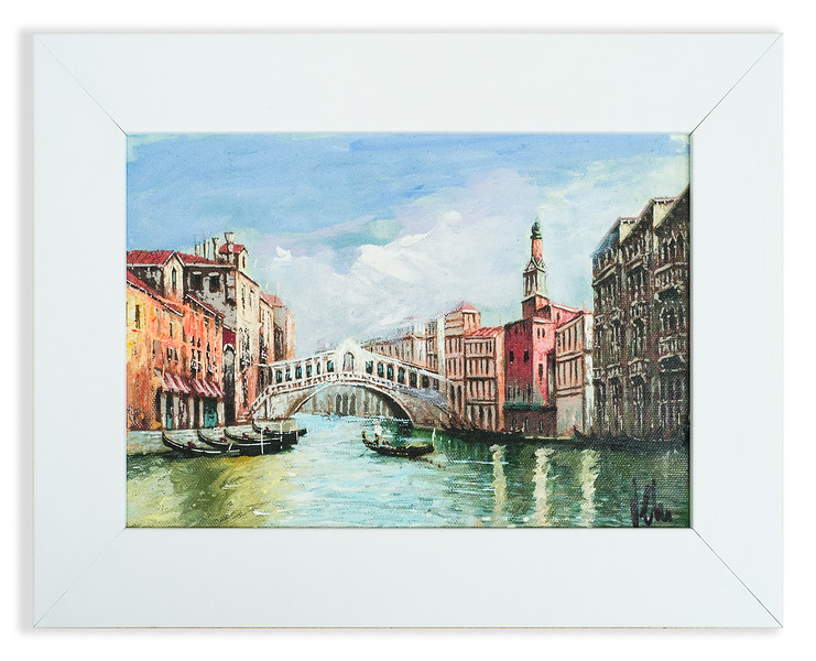 Oil painting of the Rialto Bridge, Venice