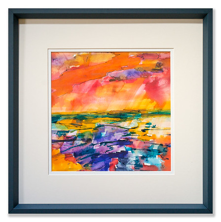 """Original watercolour/ink artwork """"The Unbelievable Truth of Sunset"""" by Scottish Artist Clare Blois"""