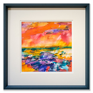 "Original watercolour/ink artwork ""The Unbelievable Truth of Sunset"" by Scottish Artist Clare Blois"