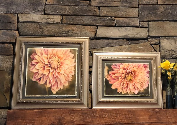 """Dahlia Magenta Pair"" ~ Watercolor Paper. Enhanced with Encaustics & Oil Pastels."