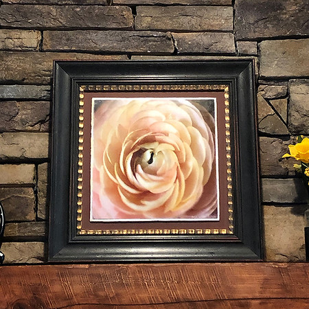 """Ranunculus Pink 163"" ~ Watercolor Paper.  Enhanced with Encaustics and Oil Pastels"