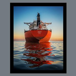 Genius Ship Mirrored At Dusk