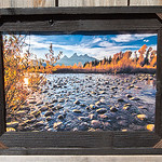 """Tetons in Fall by River, 12x18"""""""