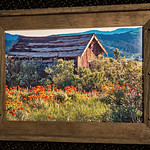 """Etna Cabin, with wood from itself, 12x18"""""""