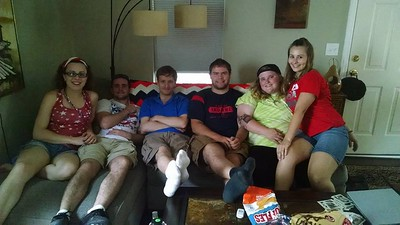 July 5, 2016 with cousins:  Allison, Mike, Thomas Biaglow, John Robert, Dessa Biaglow, Elizabeth at Uncle Joe's in Glenwillow, OH