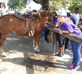 Getting ready for the trail ride at Marmon Valley Farm in Zanesfield, OH - September 9, 2017