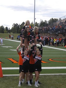 Cheer stunt with ONU cheer squad - September 12, 2015