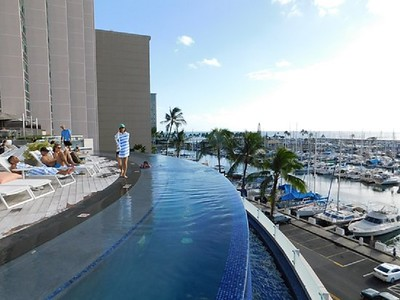 The heated salt water infinity pool
