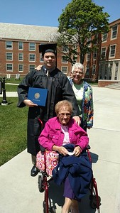 John Robert with Gramma and Grandma at JCU graduation - May 22, 2016
