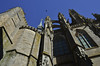 """Mont St-Michel, looking up the side of the """"flamboyant Gothic"""" choir section of the church"""