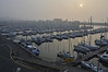 In the early morning the fog gave a golden light over the yacht harbor in Perros-Guirec