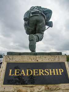 The back of the statue of Richard Winters, commander of the Band of Brothers.