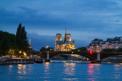 Notre Dame from Seine evening