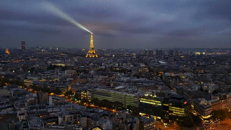 Paris Eiffel Tower Night Shot From Hyatt Lounge Cell Shot 16x9 (03110 Marked