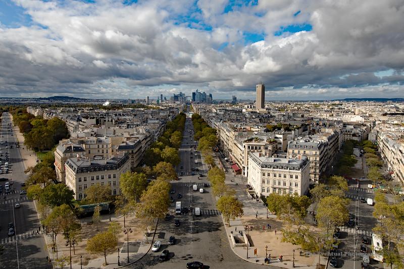 Paris View of La Defense From L'Arc De Triomphe Ultrawide (6832) Marked