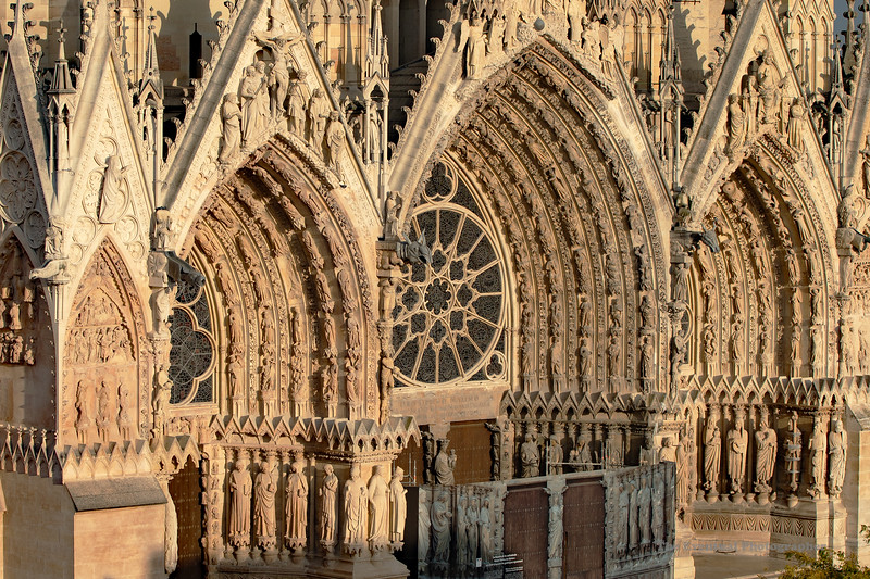 Reims Cathedral Notre Dame de Reims Sunset Light Closeup (2922) Marked