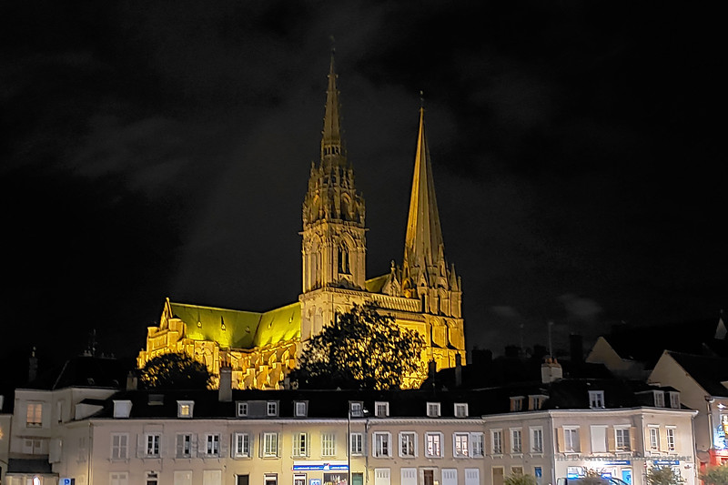 France Cathedral Chartres Night Cell Shot (3126) Marked