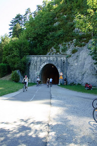 Cycle Path Tunnel (1) The existence of this tunnel is what made me believe this cycle path used to be a rail route.  France is as a whole a lot more cycle-friendly than most other countries, but even they wouldn't build a tunnel just for a cycle path.