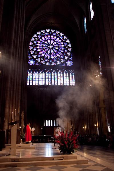 Notre Dame, Rose Window, Incense & Priest, Paris, France