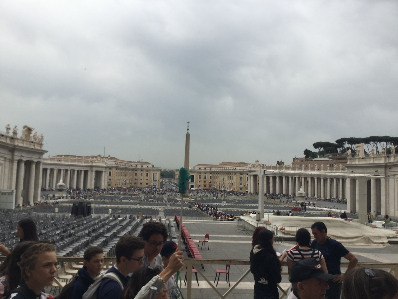 View from the front of Saint Peter's Basilica, toward our hotel