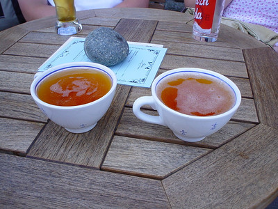 Fancy a Tea Cup of Cider?  Claire and I ordered cider, expecting to get it in a glass or a cider mug, but nope - we got it in tea cups. I felt obliged to raise my pinky whilst drinking :-)