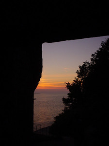 Doorway Sunset  We couldn't walk down this section as it wasn't safe, but the doorway provided a cool border for another arty shot.