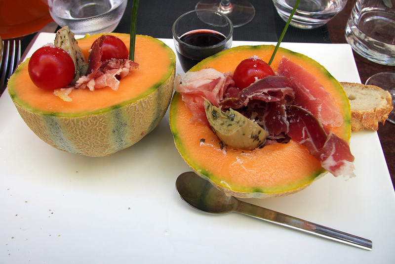 Lunch in Cavaillon, melon is their specialty.