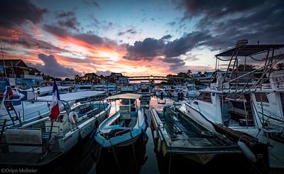 Sunset sur le port de Saint Gilles les Bains