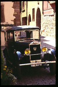 Classic car on classic Riquewihr street