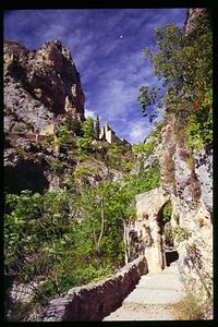 Notre Dame de Beauvoir hangs from the mountain above Moustiers Ste Marie