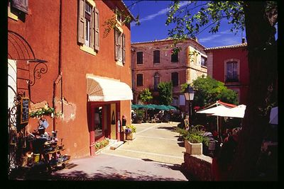 Roussillon's red building surround the square