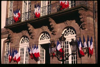 Mairie (City Hall) decorated for Bastille Day
