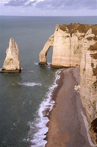 """The """"falaises"""" or chalk cliffs with the famous arch at Étretat looking north (2)"""