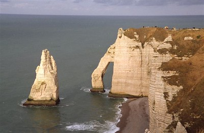 """The """"falaises"""" or chalk cliffs with the famous arch at Étretat looking north (1)"""
