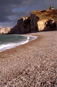 Étretat beach with cliffs and church