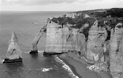 """The """"falaises"""" or chalk cliffs with the famous arch at Étretat looking north (B&W 1)"""