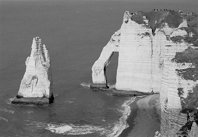 """The """"falaises"""" or chalk cliffs with the famous arch at Étretat looking north (B&W 2)"""