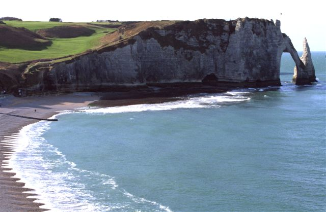 """The """"falaises"""" or chalk cliffs with the famous arch at Étretat looking south(1)"""