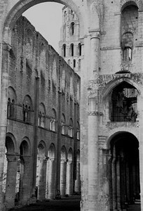 The Benedictine Abbaye de Jumièges ruin (B&W2)