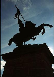 Joan d'Arc statue in silhouette, Alise Sainte Reine, Burgundy