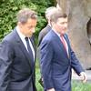 President Sarkozy and Ambassador Rivkin walk together