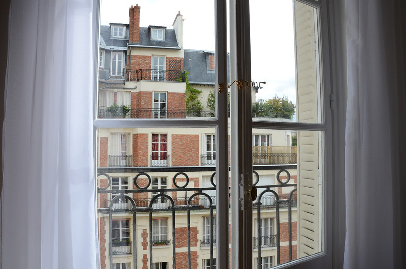 View across the courtyard at our first apartment in Paris