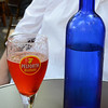 Strawberry flavored beer, possibly Früli, at La Terrasse Mirabeau.  Not very good.  And a bottle of water in a pretty blue bottle for Deborah's benefit.
