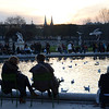 Sunset over the round basin at Tuileries Garden