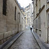 What Owen Wilson would have seen as he approached the steps of the church.  This is Rue Saint Étienne du Mont.