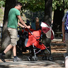 A stroller with a parasol